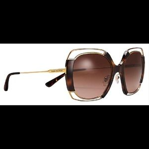 Tory Burch Havana Open-wire Sunglasses